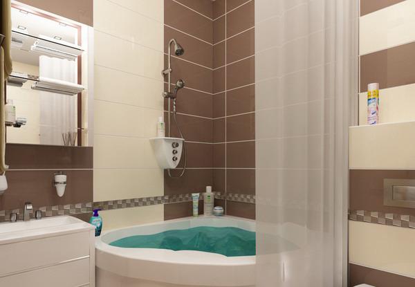 ванная комната в хрущевке коричнево-бежевом дизайн фото